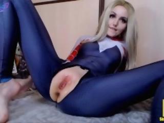 Spider-Gwen fuck w horse & dragon dildo and cum Sia Siberia