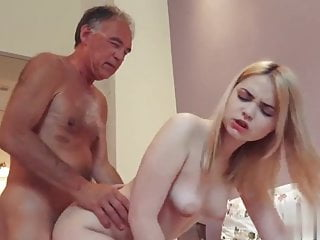 Grandpa fucking cumming in mouth of young girl